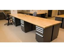 Stationary or Mobile Workbench with Cabinet
