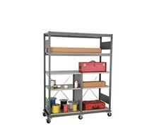 "Double Mobile Industrial Shelving, 7 shelves (60""W X 24""D X 63""H)"